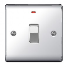 BG Nexus Polished Chrome Double Pole Switch with Neon - NPC31