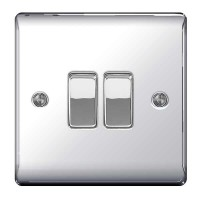 BG Nexus Polished Chrome Double Light Switch - NPC42