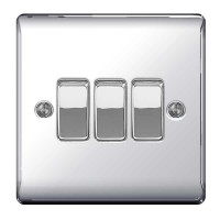 BG Nexus Polished Chrome Triple Light Switch - NPC43