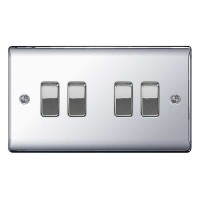 BG Nexus Polished Chrome Quad Light Switch - NPC44