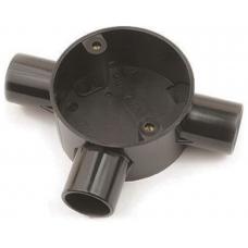 Univolt CB203BK 3 Way Tee Circular Box 20mm Black