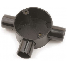 Univolt CB253BK 3 Way Tee Circular Box 25mm Black