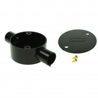 Univolt Black Through Conduit Junction Box 20mm Including Lid & Screws