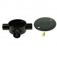 Univolt Black Tee Conduit Junction Box 20mm Including Lid & Screws