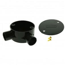 Univolt Black Angle Conduit Junction Box 20mm Including Lid & Screws