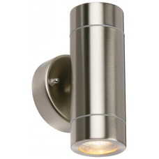 Saxby 13802 Stainless Steel Up/Down Wall Light GU10 IP44 2x35W