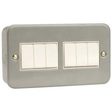 Click CL105 Switch 6Gang 2Way & Box 10A Metal Clad