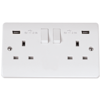 Click CMA780 Switched Socket 2Gang with USB 13A