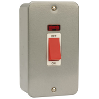 Click CL203 Cooker Switch 2Gang Neon 45A Metal Clad