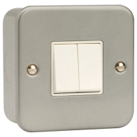 Click CL012 Double Switch 2Gang 2Way & Box 10A Metal Clad