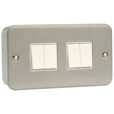 Click CL019 Quad Switch 4Gang 2Way & Box 10A Metal Clad