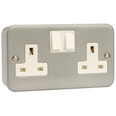 Click CL036 Switched Double Socket 2Gang DP 13A Metal Clad