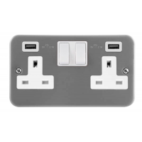Click CL780 Switched Double Socket with USB 2Gang 13A Metal Clad