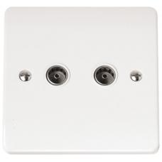 Click CMA066 Twin CoAx Socket White