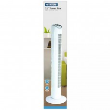 Status S32TOWERFAN1PKB Oscillating White Tower Fan 32in