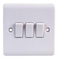 Volex D1050NR Triple Plate Switch 3Gang 2Way 10AX White