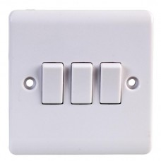 Volex D1050NR Triple Plate Switch 3Gang 2Way 10AX White